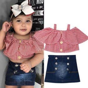 (Last 1-3T) Matching set skirt & off shoulder top